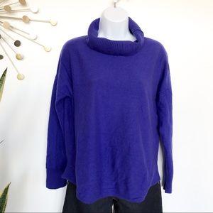 Eileen Fisher blue 100% wool turtleneck sweater M